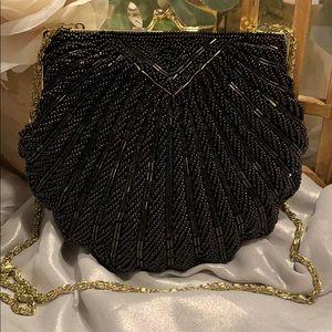La Regale black beaded evening bag